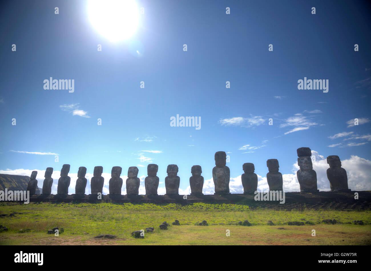 Moais at Ahu Tongariki (Easter island, Chile) - Stock Image