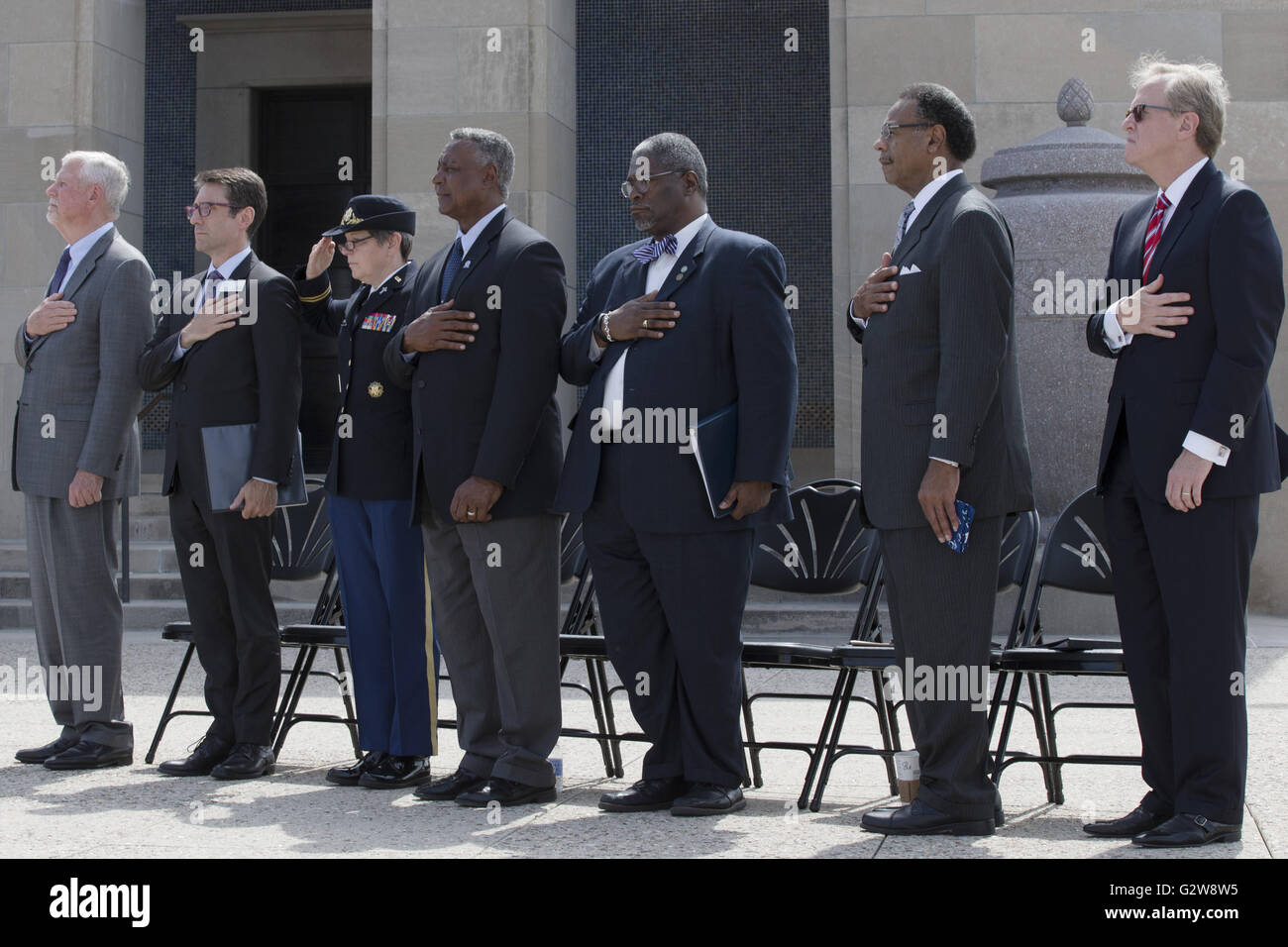 Kansas City, Missouri, USA. 1st June, 2016. Pledges-of-honor and a salute are held during the Echo Taps played by - Stock Image