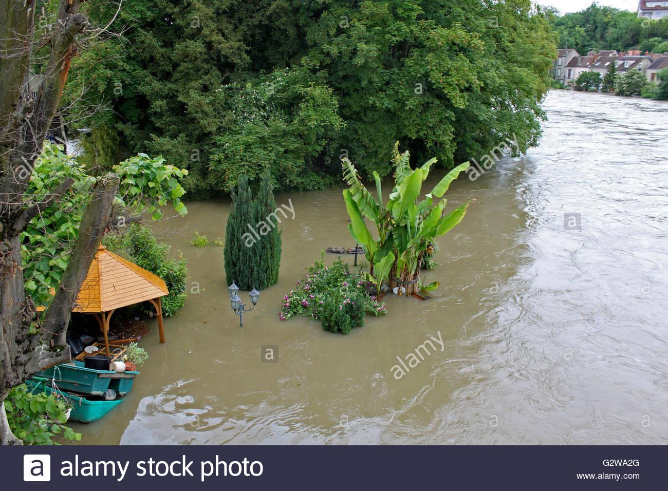 Ile de France, Nemours, flood, June 1st, 2016 - Stock Image