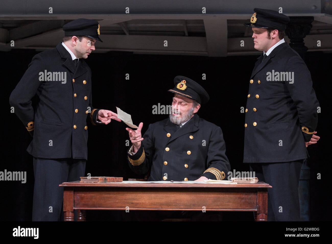 London, UK. 3rd June, 2016. L-R: Scott Cripps (Murdoch), Philip Rham (Captain Edwards) and Alistair Barron (Lightoller). - Stock Image