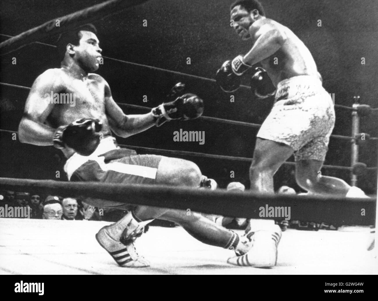 FILE - A file picture dated 08 March 1971 shows US heavyweight boxer Muhammad Ali (L) being knocked off his feet Stock Photo