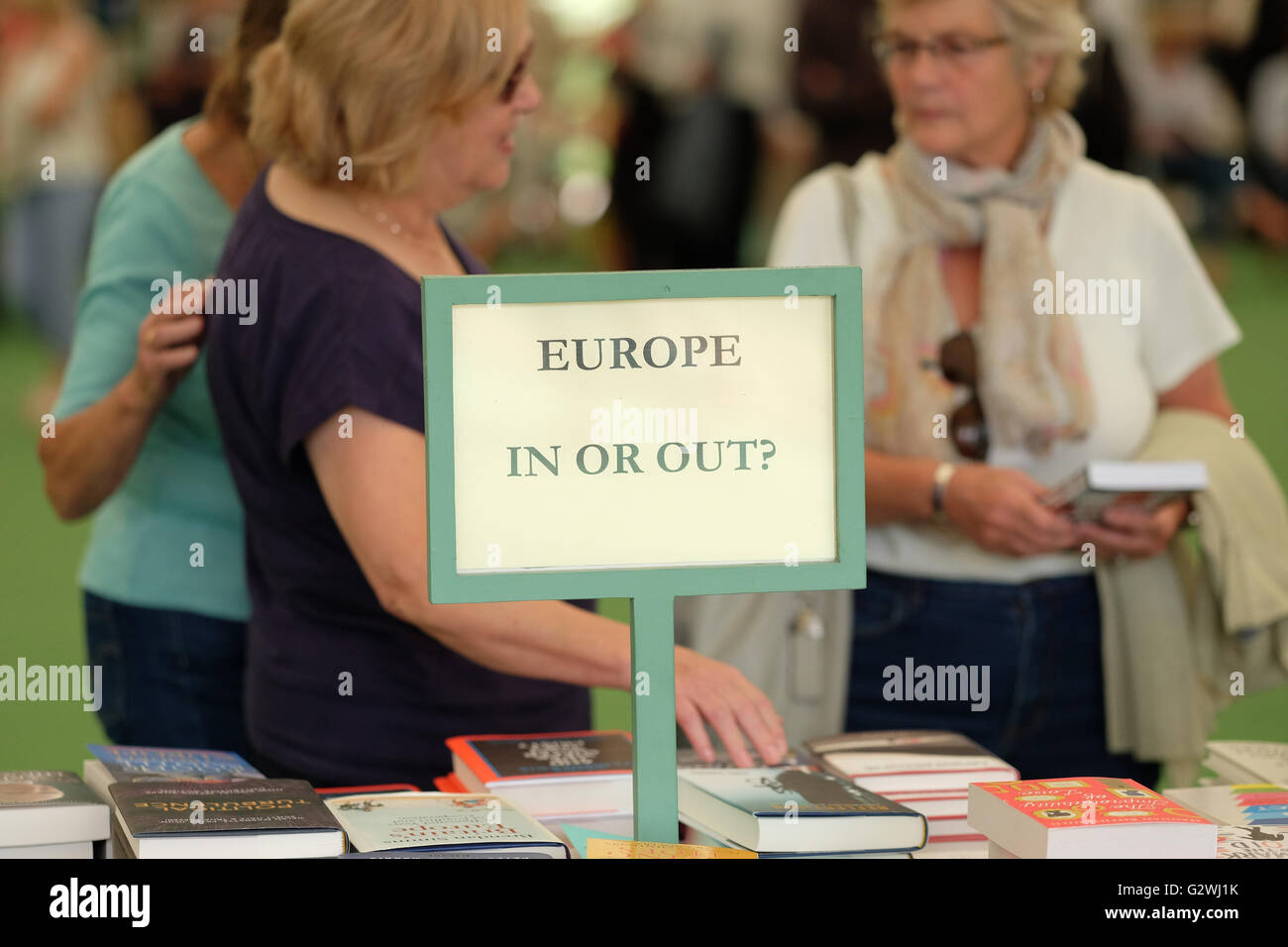 Hay Festival, Wales, UK - June 2016 -  Visitors to the book Festival browse the various EU Referendum related books - Stock Image