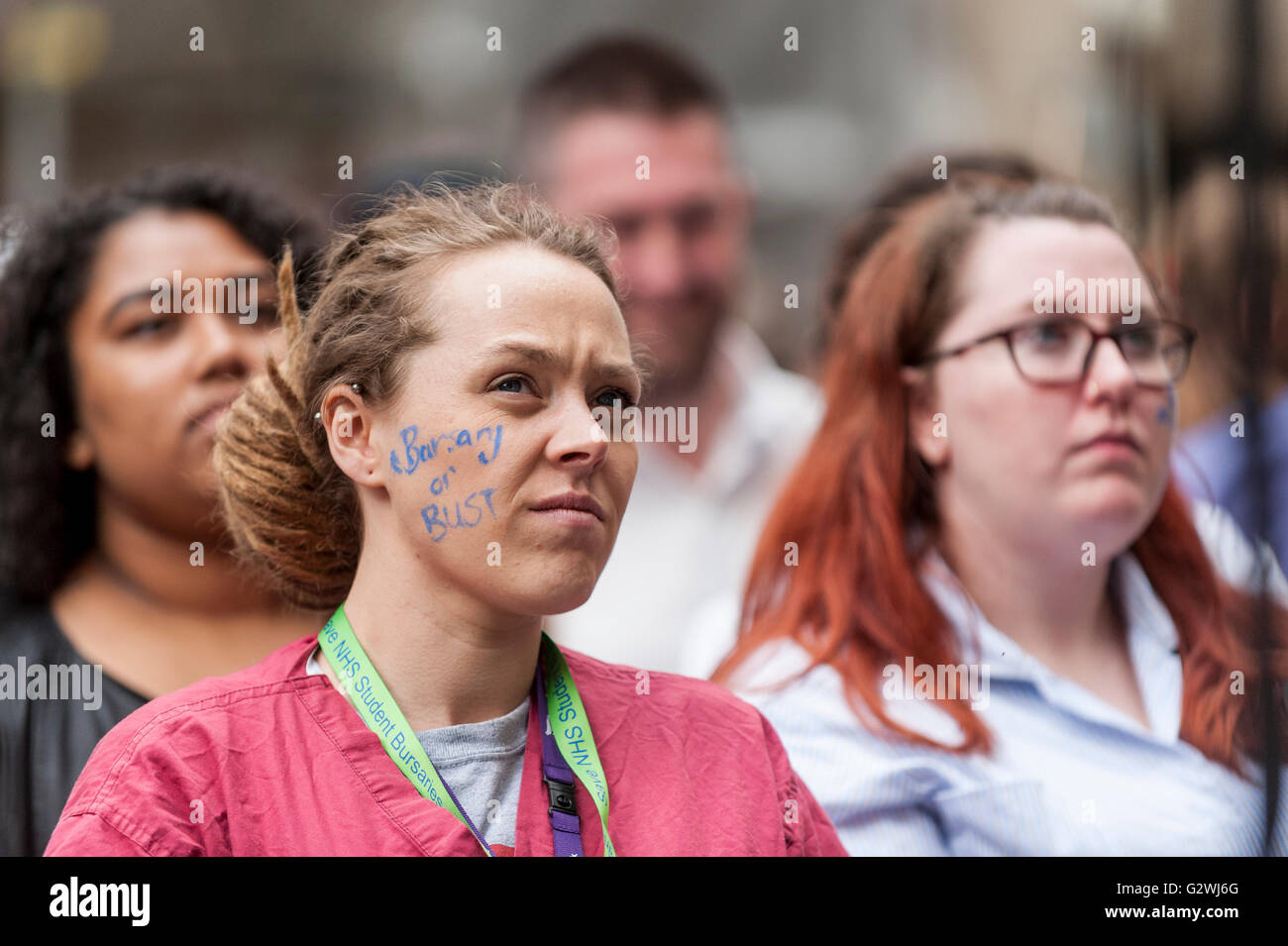London, UK.  4 June 2016.  NHS nurses protest outside the Department of Health calling for a rethink of plans to - Stock Image