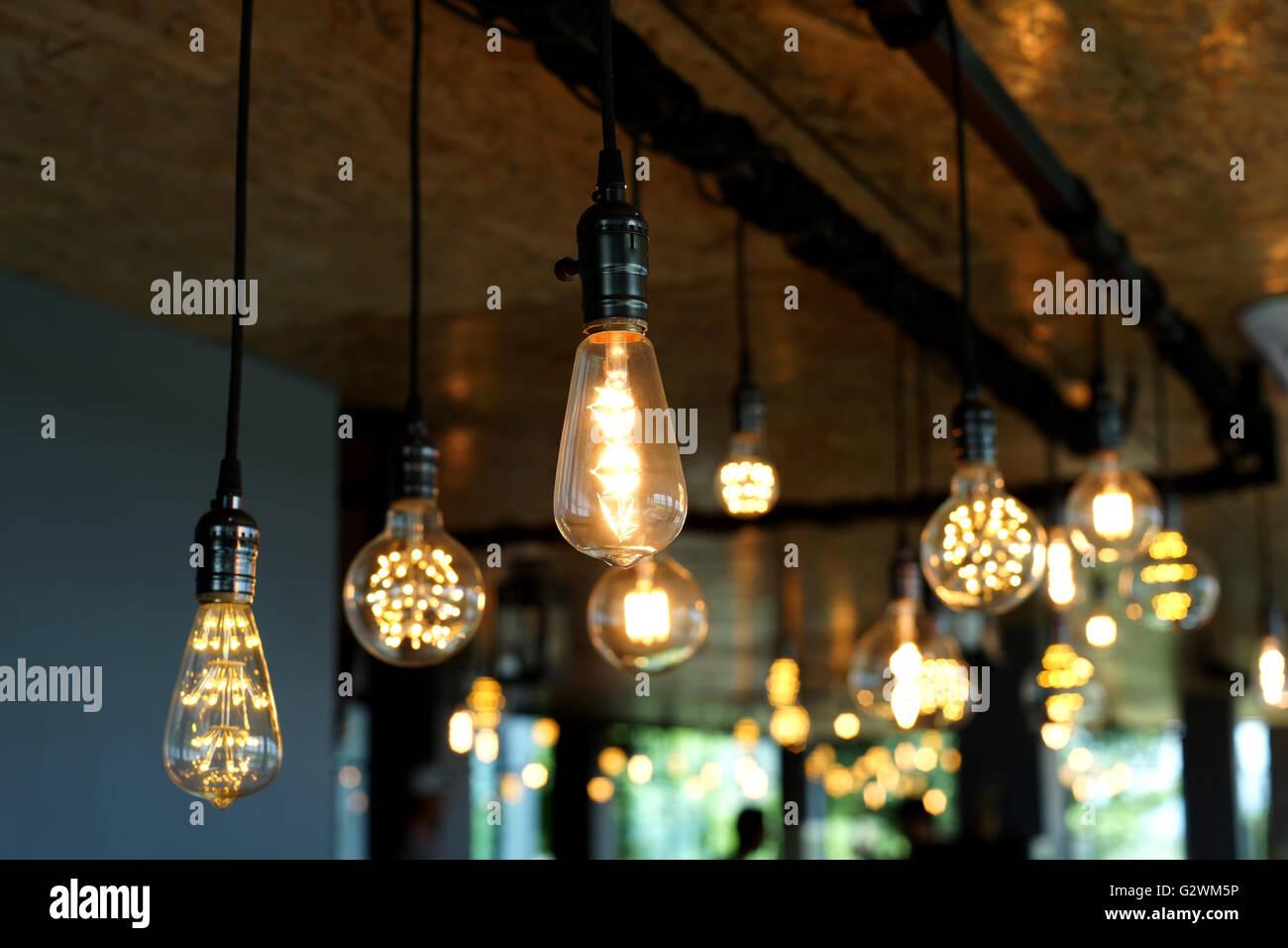 Decorative antique tungsten light bulbs hanging on ceiling stock decorative antique tungsten light bulbs hanging on ceiling aloadofball Image collections