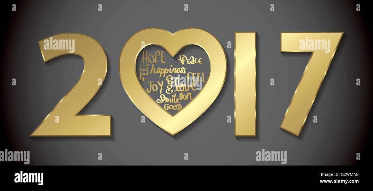 Love 2017 Greeting Card Golden Full Vector Stock Vector Art