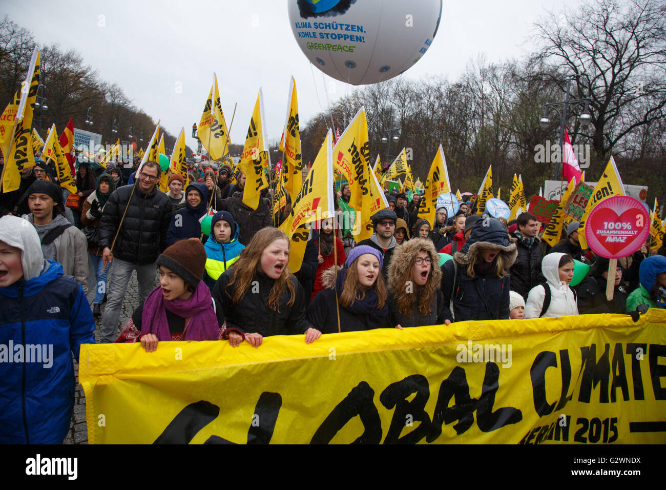 29.11.2015, Berlin, Berlin, Germany - Demonstration Global Climate March in the government district, on the occasion Stock Photo