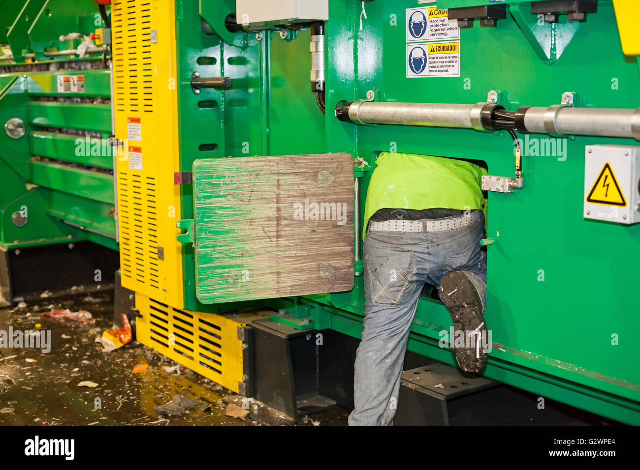 Southfield, Michigan - The ReCommunity materials recovery facility, where recyclable materials are sorted and baled.. - Stock Image