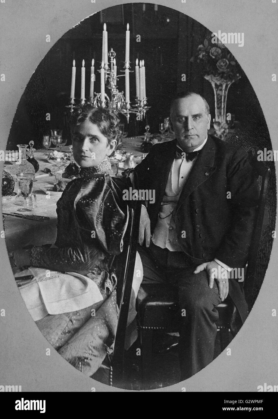 American President William McKinley and his wife Ida McKinley. - Stock Image