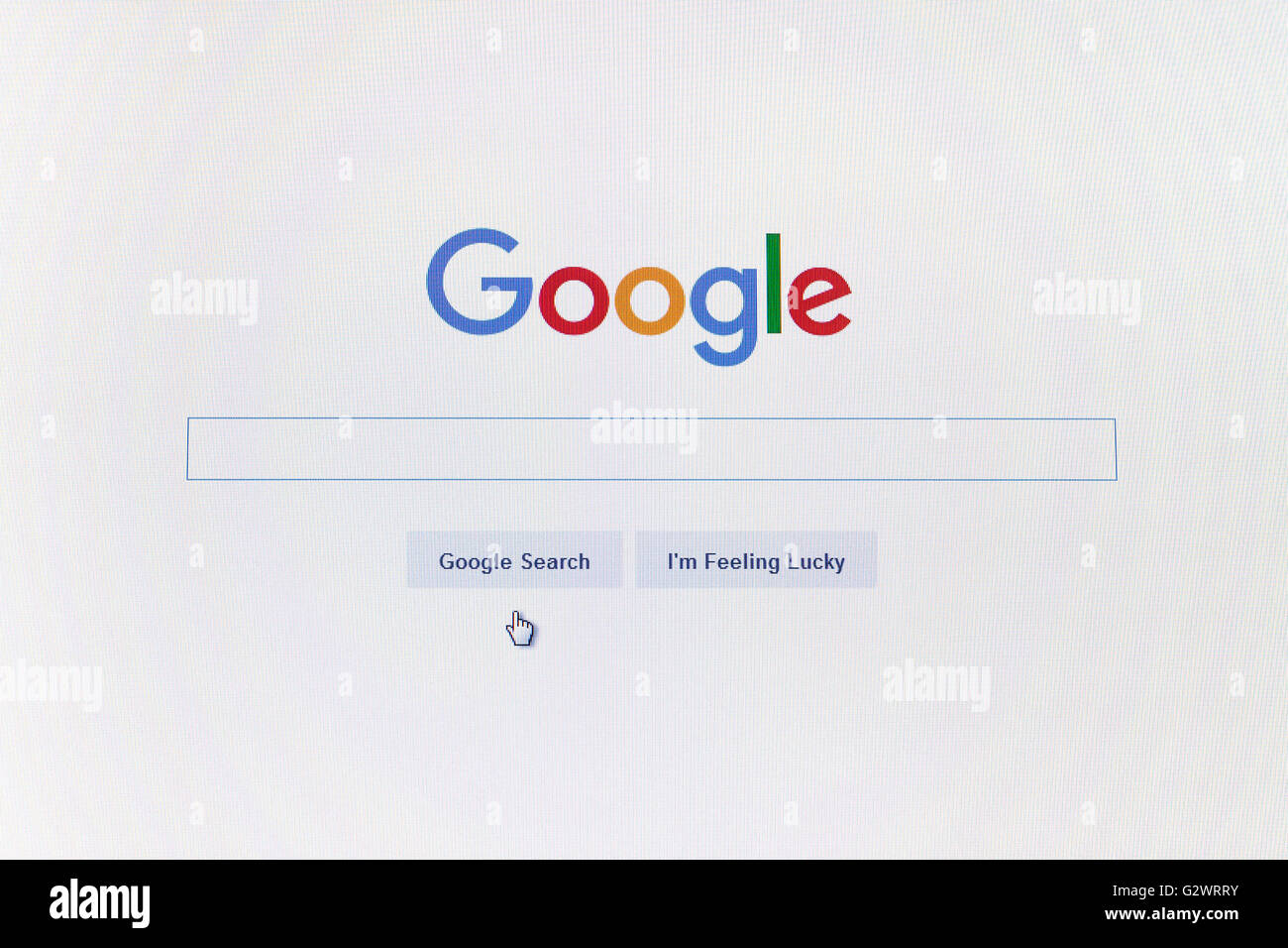 GDANSK, POLAND - MAY 14, 2016. Google.com homepage and cursor on the computer screen. Editorial use only - Stock Image