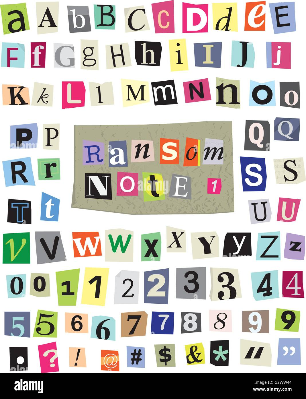 Vector Cut Newspaper And Magazine Letters Numbers And Symbols