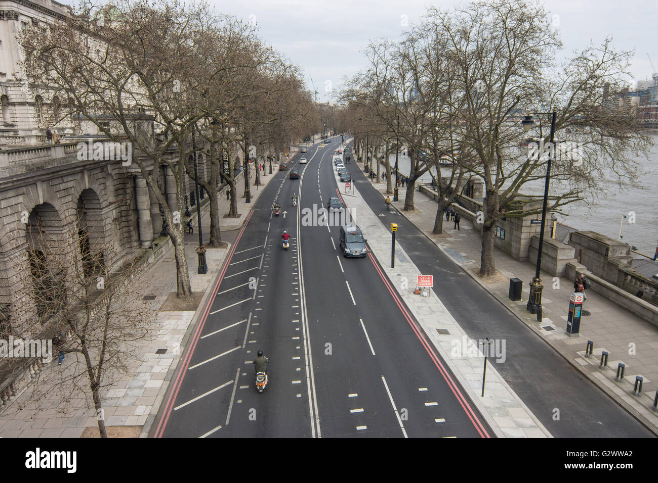 London Embankment,  Road by thames - Stock Image