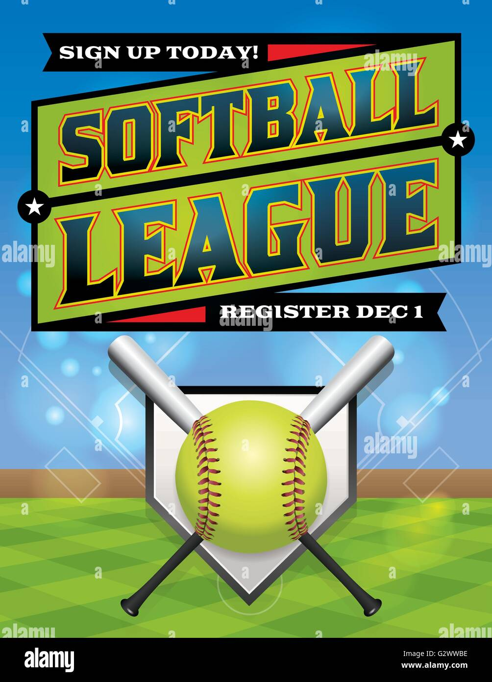 An illustration for a softball league flyer. Vector eps 10 available. EPS file is layered. Font have been converted Stock Vector