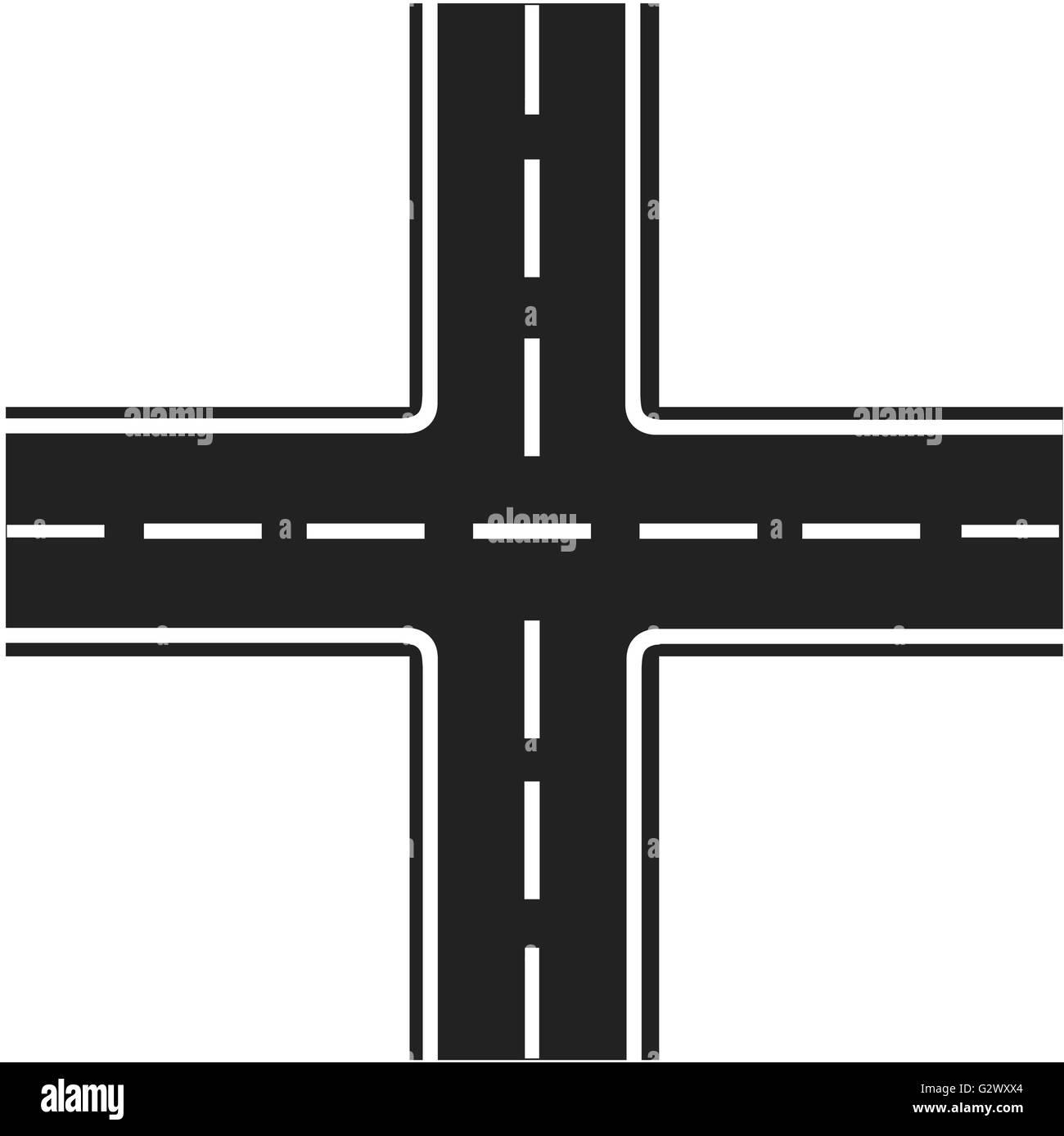 road junction illustration crossroads highway intersection stock
