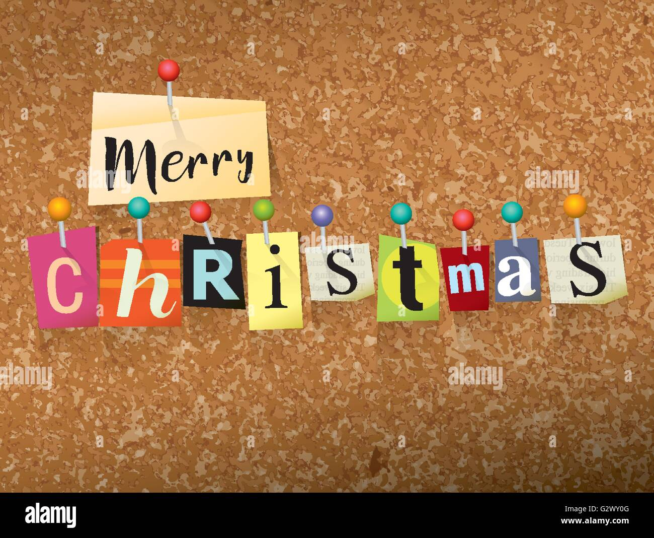 The Words MERRY CHRISTMAS Written In Cut Ransom Note Style Paper Letters And Pinned To A Cork Bulletin Board Vector EPS 10 Il