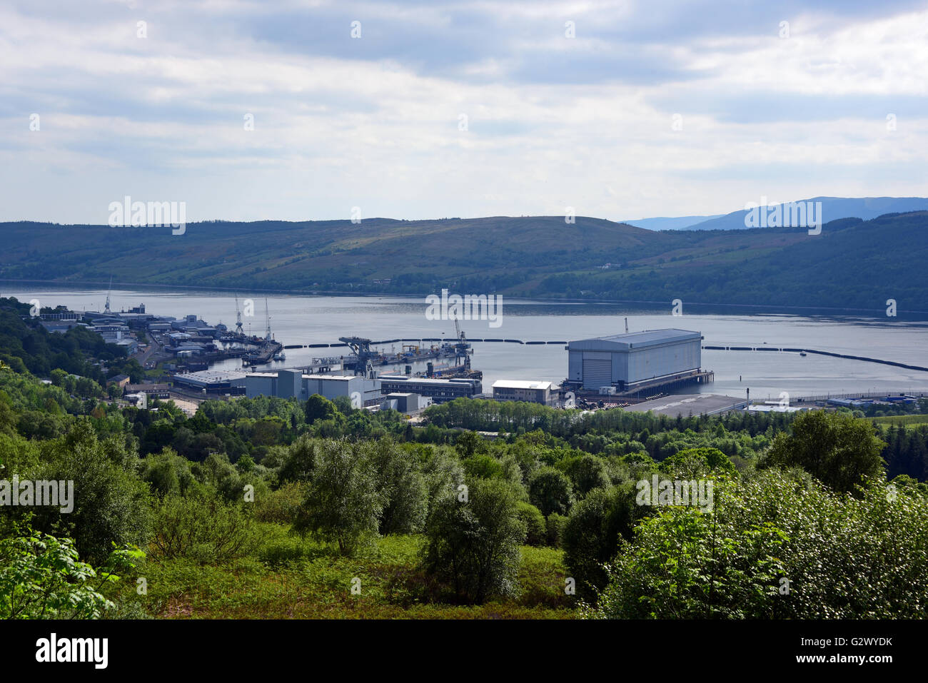 Faslane naval base on the Gareloch, home to Britain's Trident nuclear submarine fleet - Stock Image