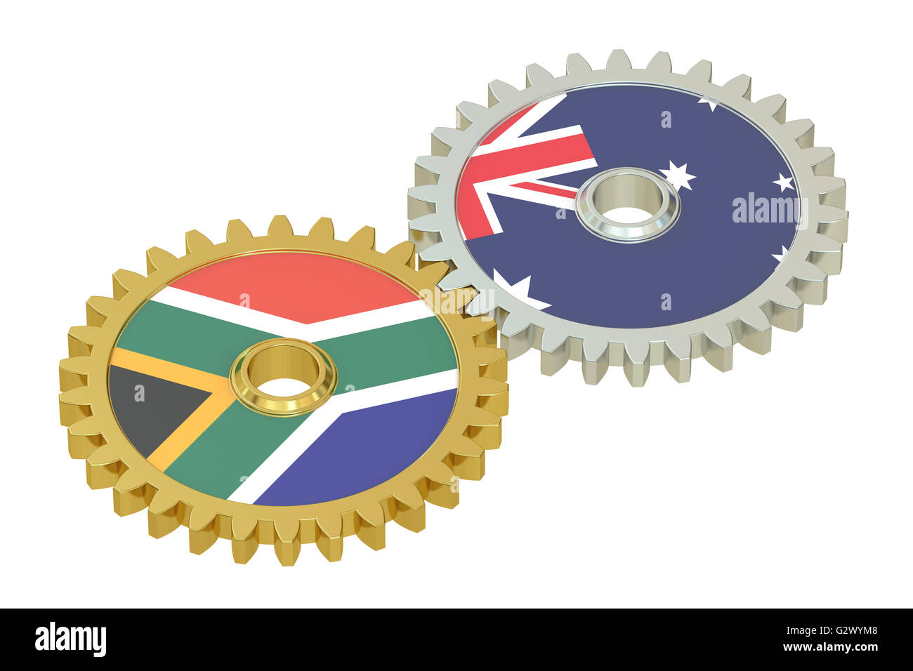 South Africa and Australia relations concept, flags on a gears. 3D rendering isolated on white background - Stock Image