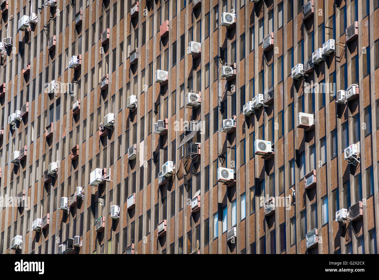 High rise building with air-conditioning units, Rio de Janeiro, Brazil - Stock Image