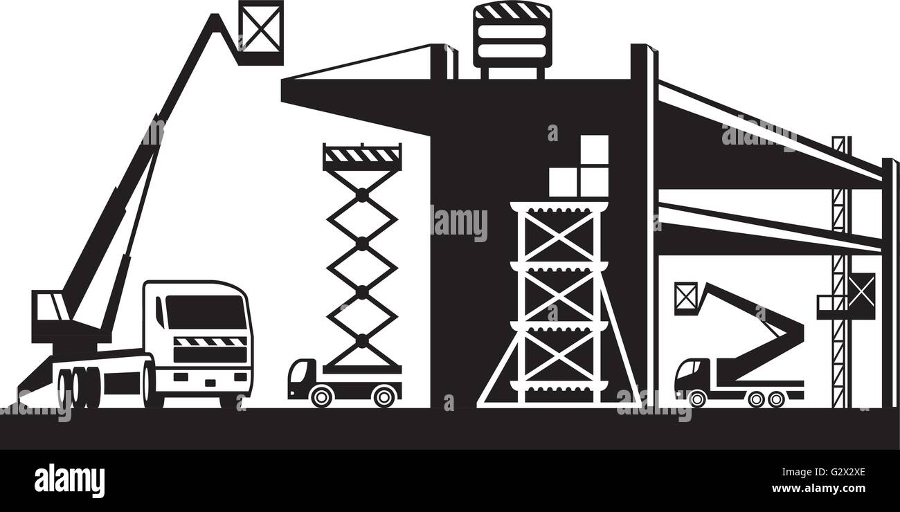 Scaffolding and lifting machinery - vector illustration - Stock Vector