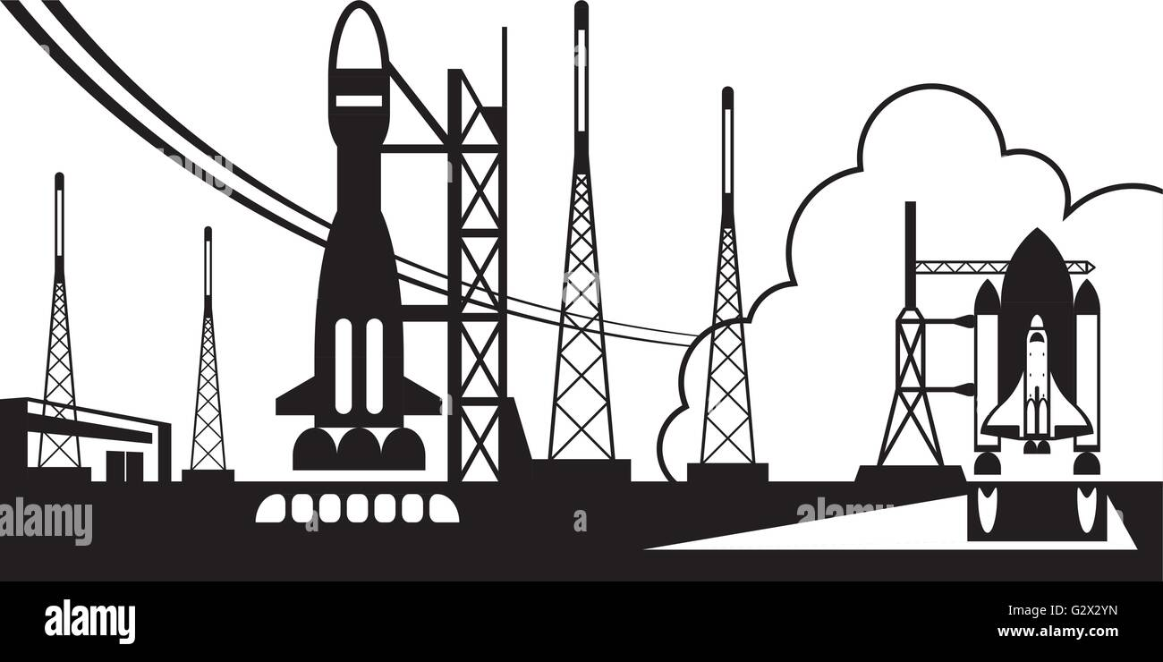 Spaceport with departing rockets - Stock Image
