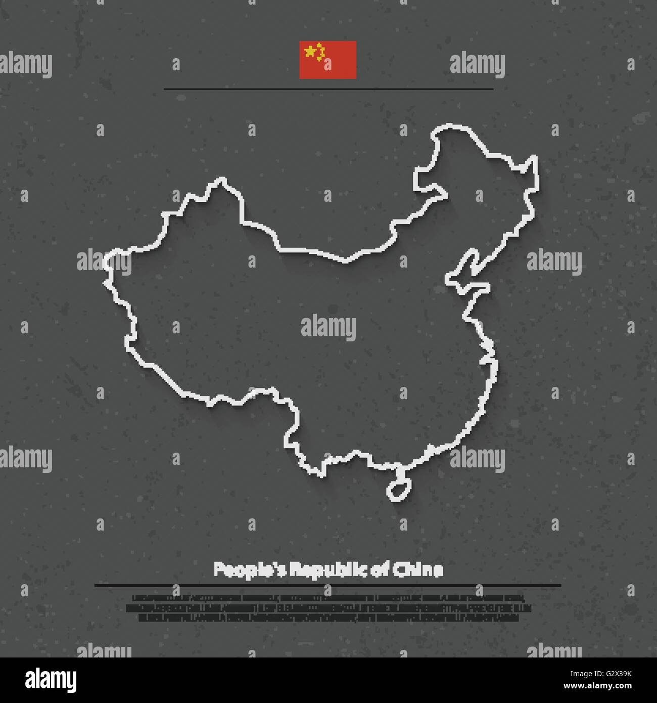 People's Republic of China isolated map and official flag icons. vector Chinese political map thin line illustration. - Stock Image