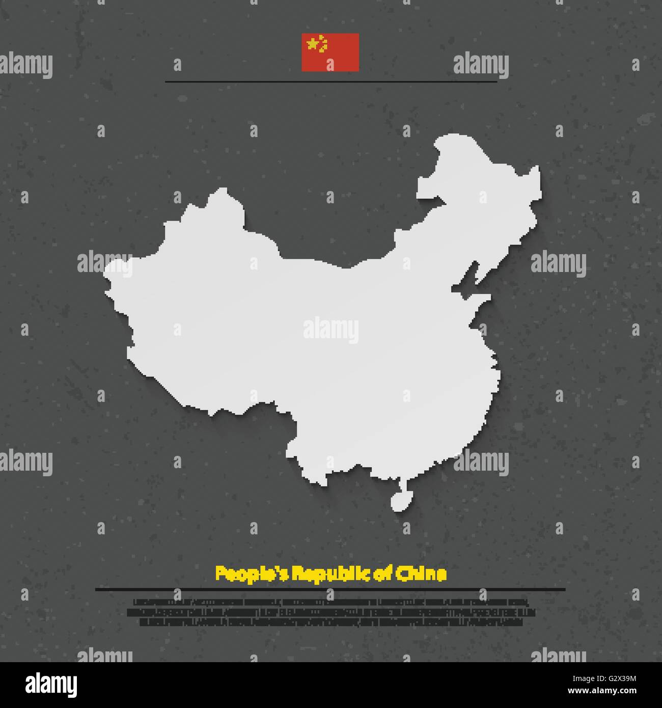 People's Republic of China isolated map and official flag icons. vector Chinese political map 3d illustration. - Stock Image