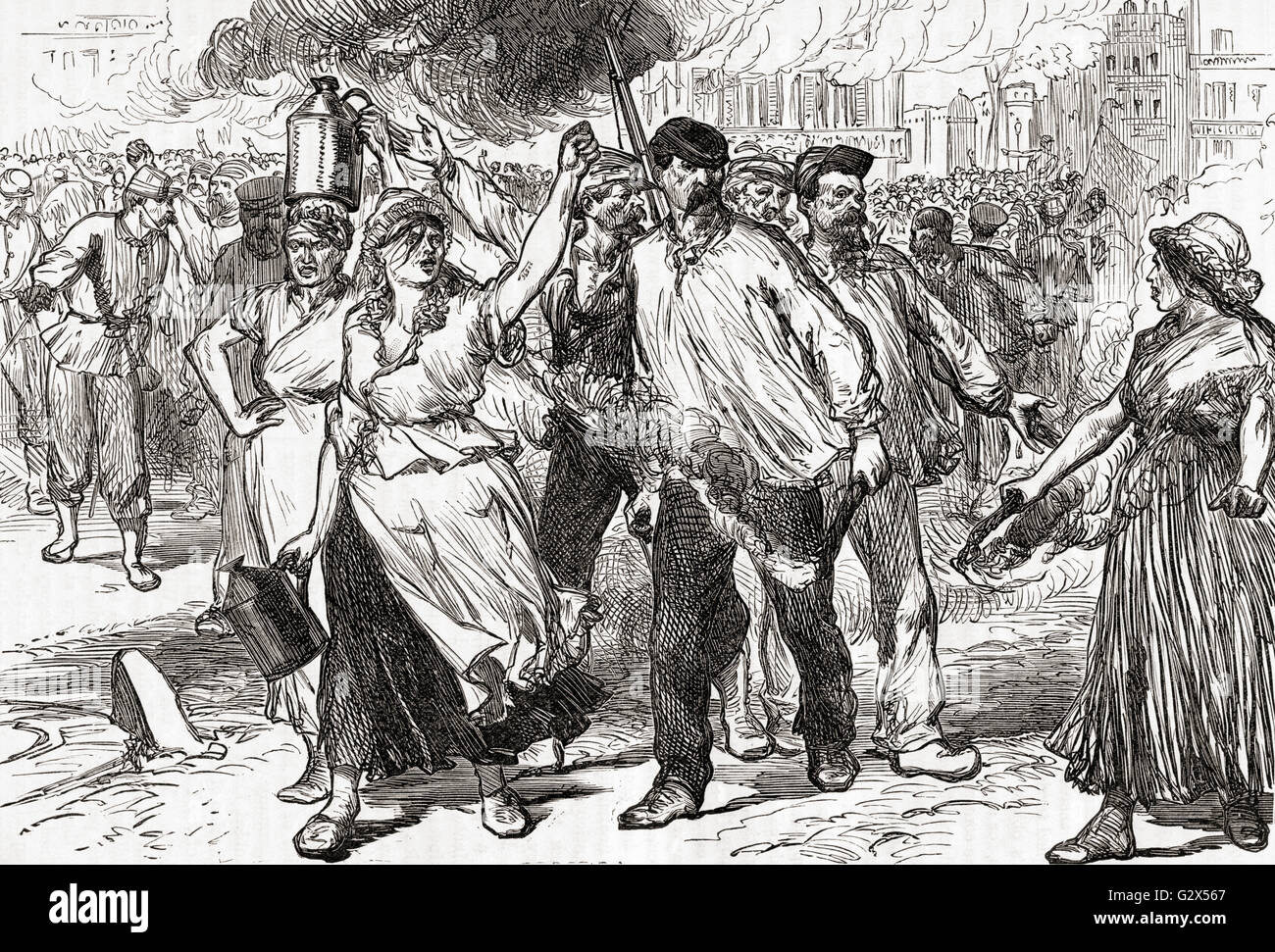 Rioters and Pétroleuses, female supporters of the Paris Commune, firing public buildings in Paris, France during - Stock Image