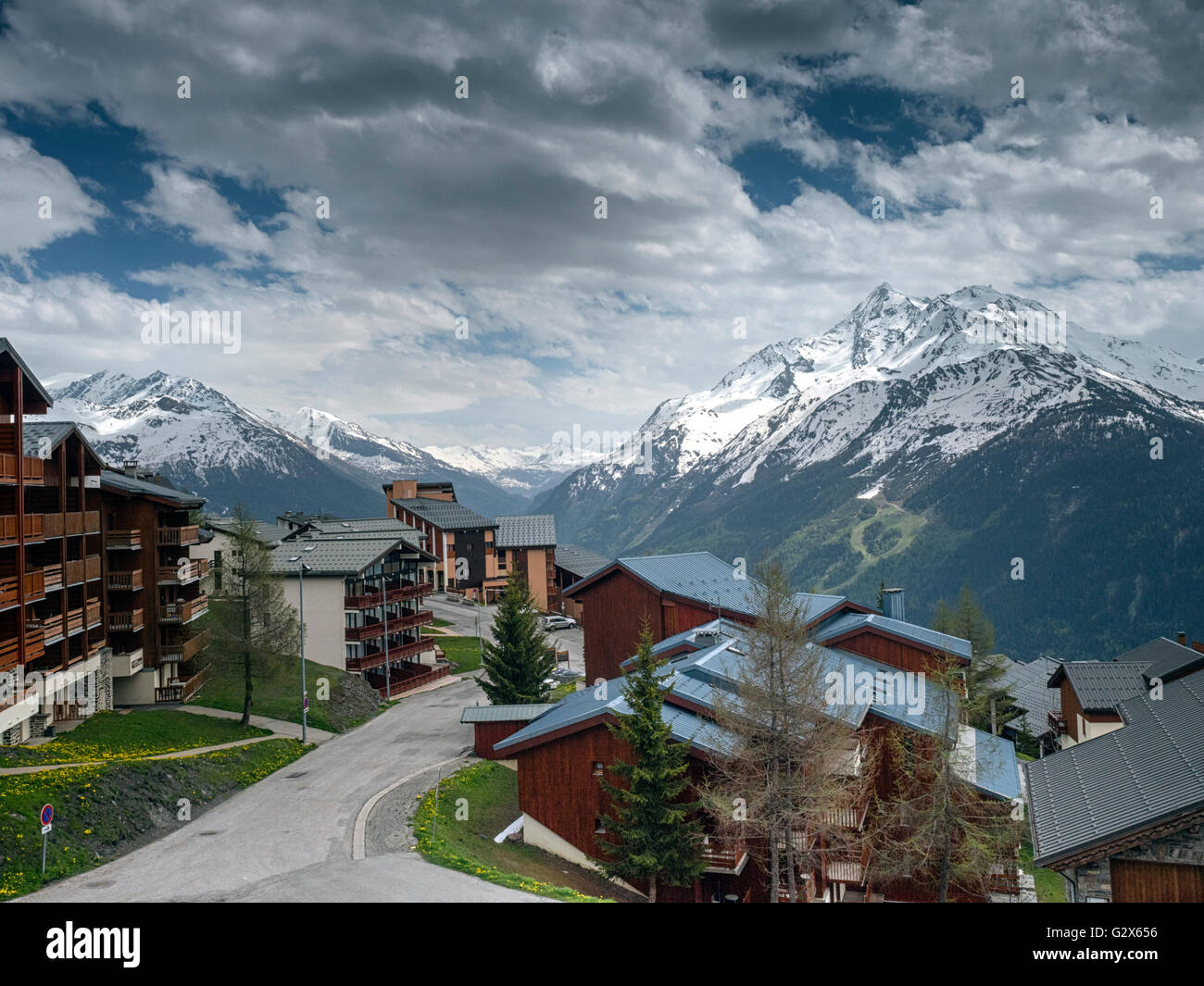 View from the French ski resort of La Rosiere (1850m) at the end of May. Mont Pourri (3,779 m), is across the valley - Stock Image