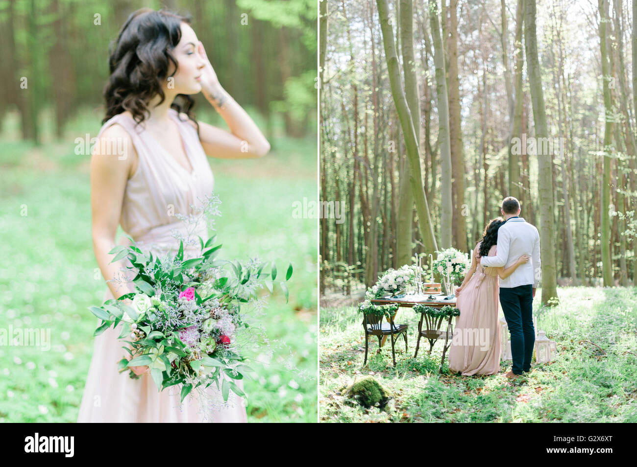 Beautiful bride and groom in spring forest. Decorated rustic wedding. Vintage decor wildflowers bouquet table setting candles. Collage photo & Beautiful bride and groom in spring forest. Decorated rustic wedding ...