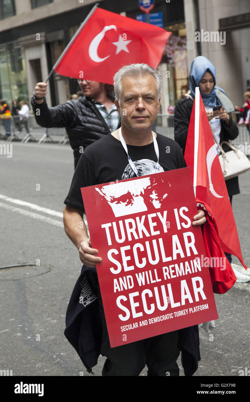 Proud Turkish Americans march in and watch the Turkish Parade in NYC and support keeping Turkey a democratic and - Stock Image