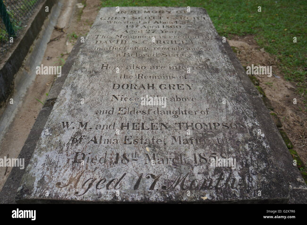 Headstone at Kandy Garrison Cemetery, Kandy, Sri Lanka of  Dorah Grey, an English baby girl who died at 17 months. - Stock Image