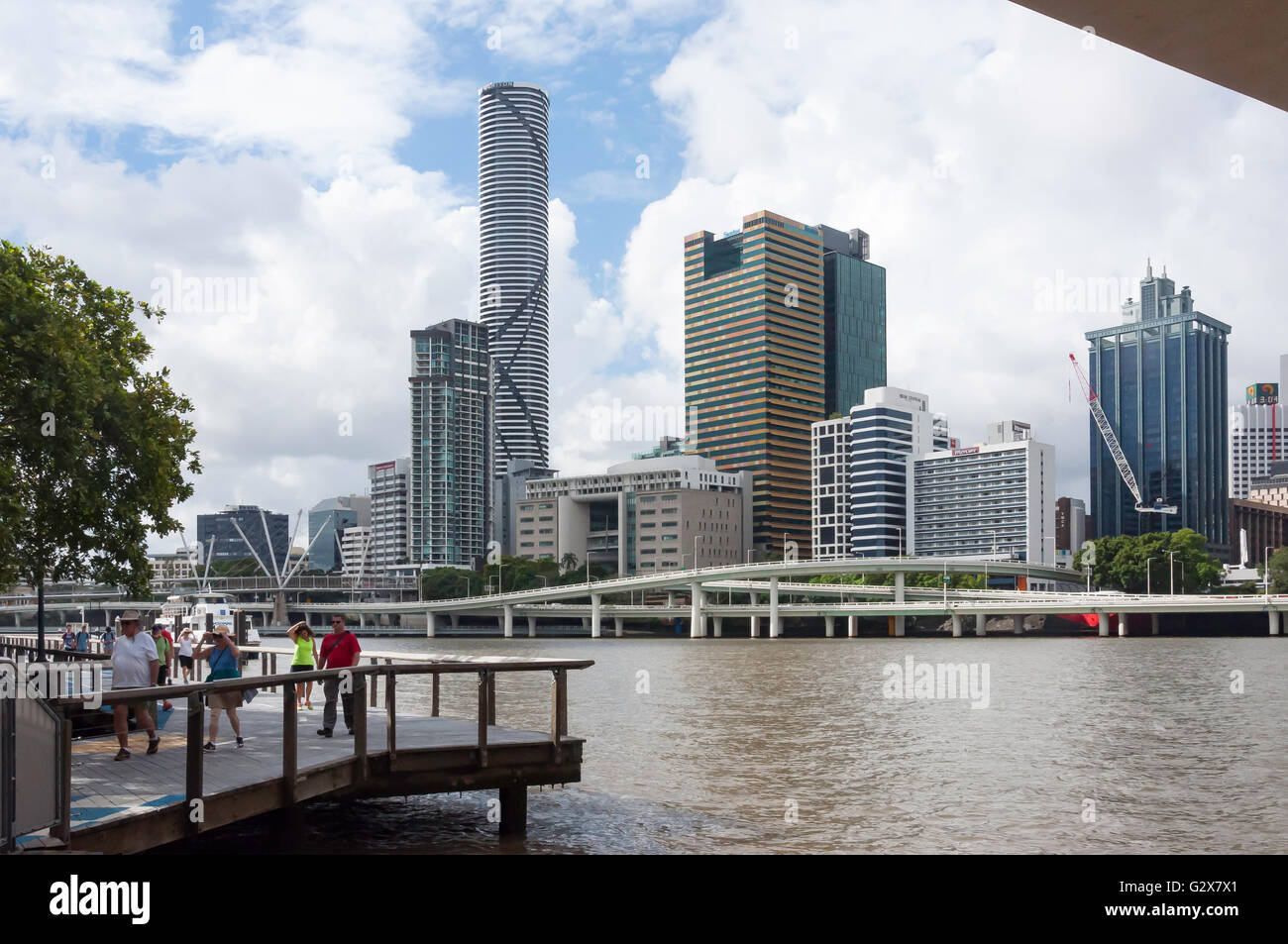 Central Business District across Brisbane River, Brisbane, Queensland, Australia - Stock Image