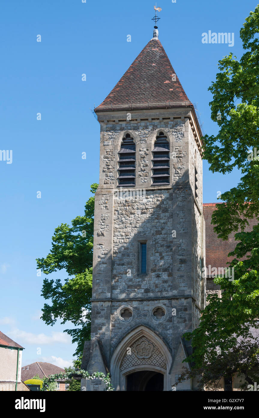 Bell tower of St Matthew's Church, Church Road, Ashford, Surrey, England, United Kingdom - Stock Image