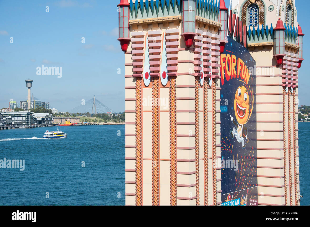 Entrance towers at Luna Park Sydney, Milsons Point, Sydney, New South Wales, Australia - Stock Image