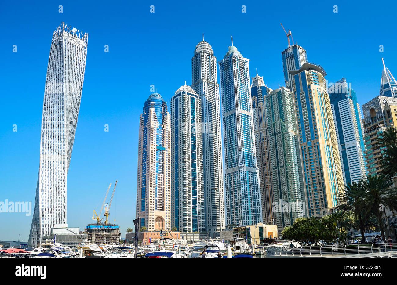 Skyscrapers in Dubai Marina UAE. - Stock Image