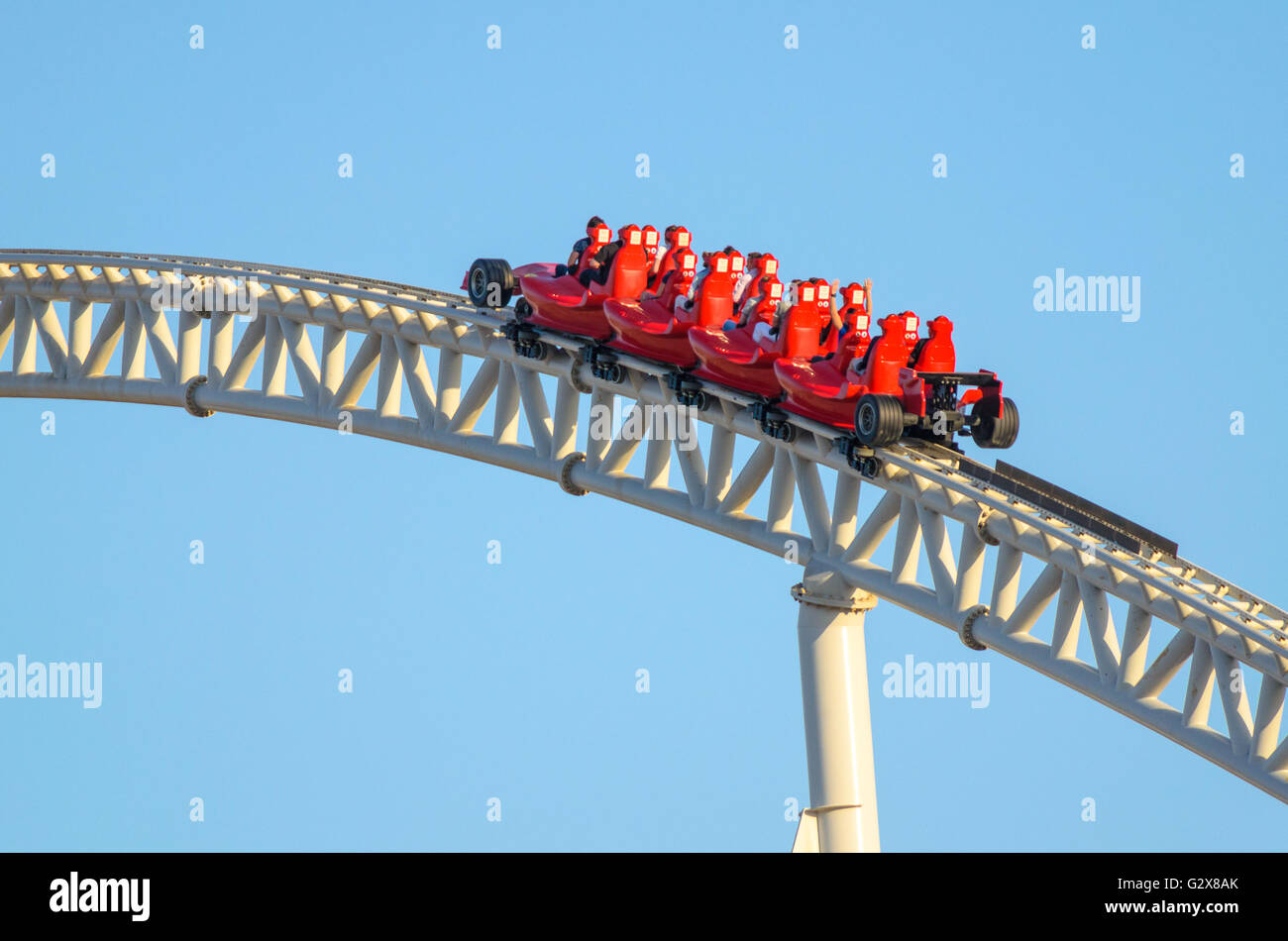 Formula Rossa, the fastest roller coaster in the world in Ferrari World at Yas Island. - Stock Image