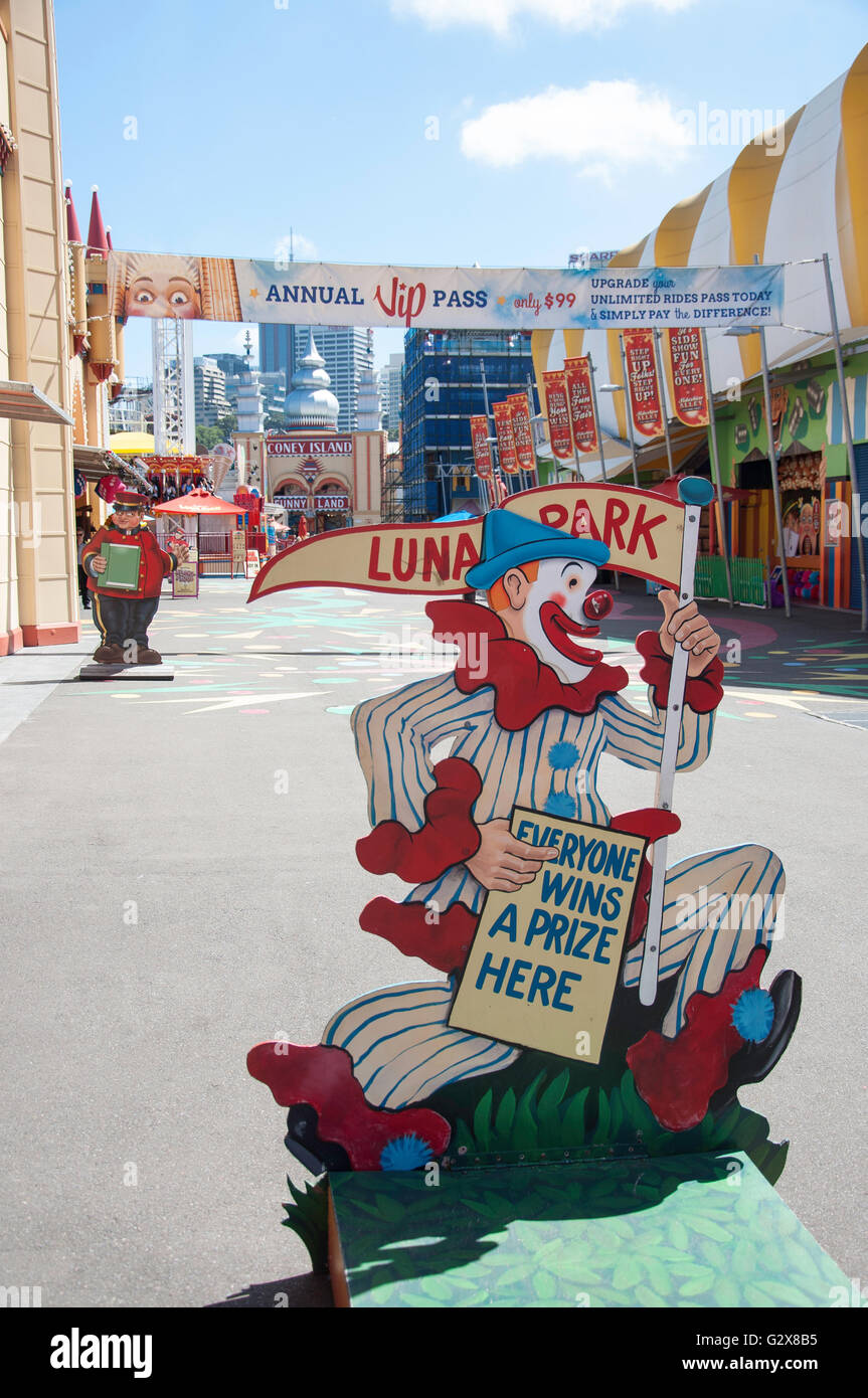 Clown sign at Luna Park Sydney, Milsons Point, Sydney, New South Wales, Australia - Stock Image