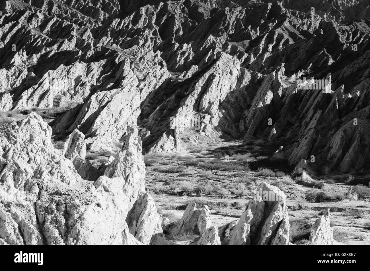 Extreme rock formations in the Argentinian Andes - Stock Image