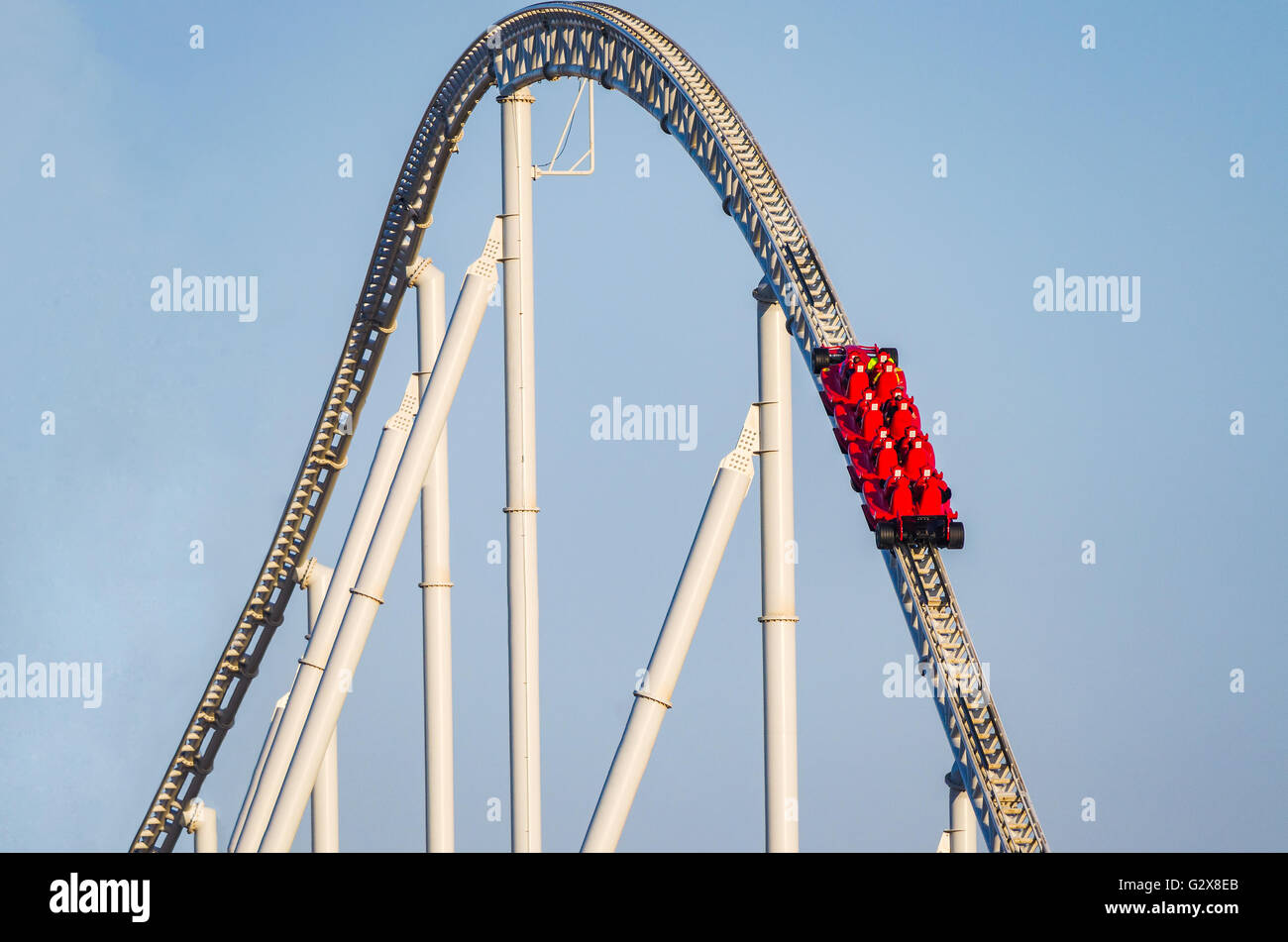 Formula Rossa, the fastest roller coaster in the world in Ferrari World amusement park at Yas Island - Abu Dhabi - Stock Image