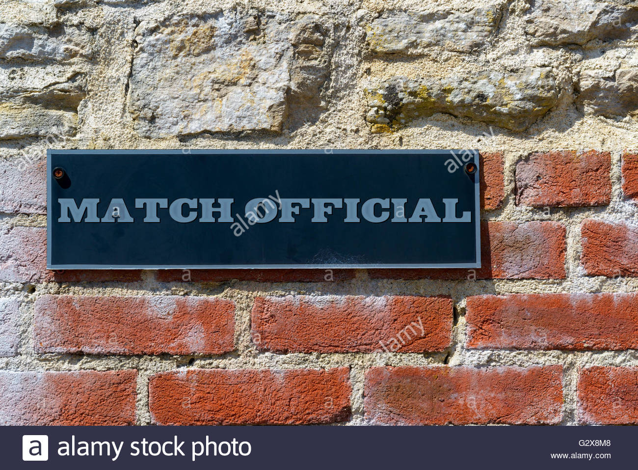 Wall Sign for Match Official, Dorset, England, Britain, UK - Stock Image