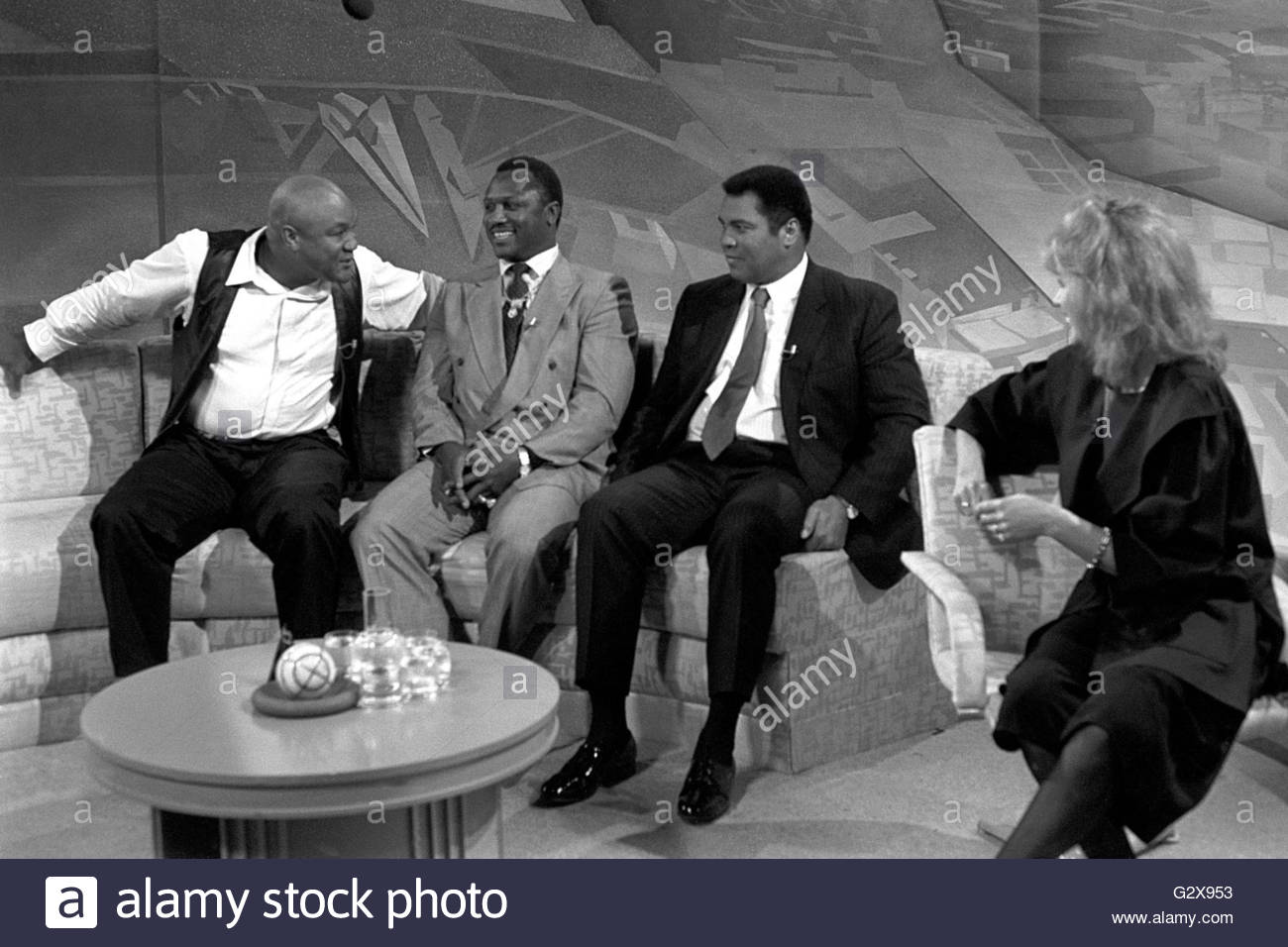 (left to right) File photo dated 18/09/89 of former World Heavyweight Champions George Foreman, Joe Frazier and - Stock Image