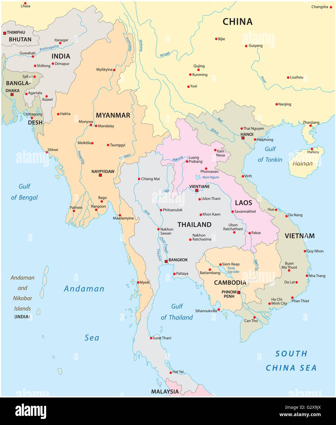 vector map of the states in south east asia - Stock Image
