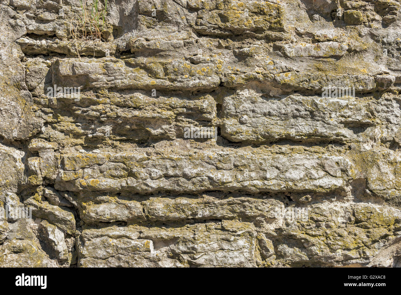 Details of an old gray stone wall - Stock Image