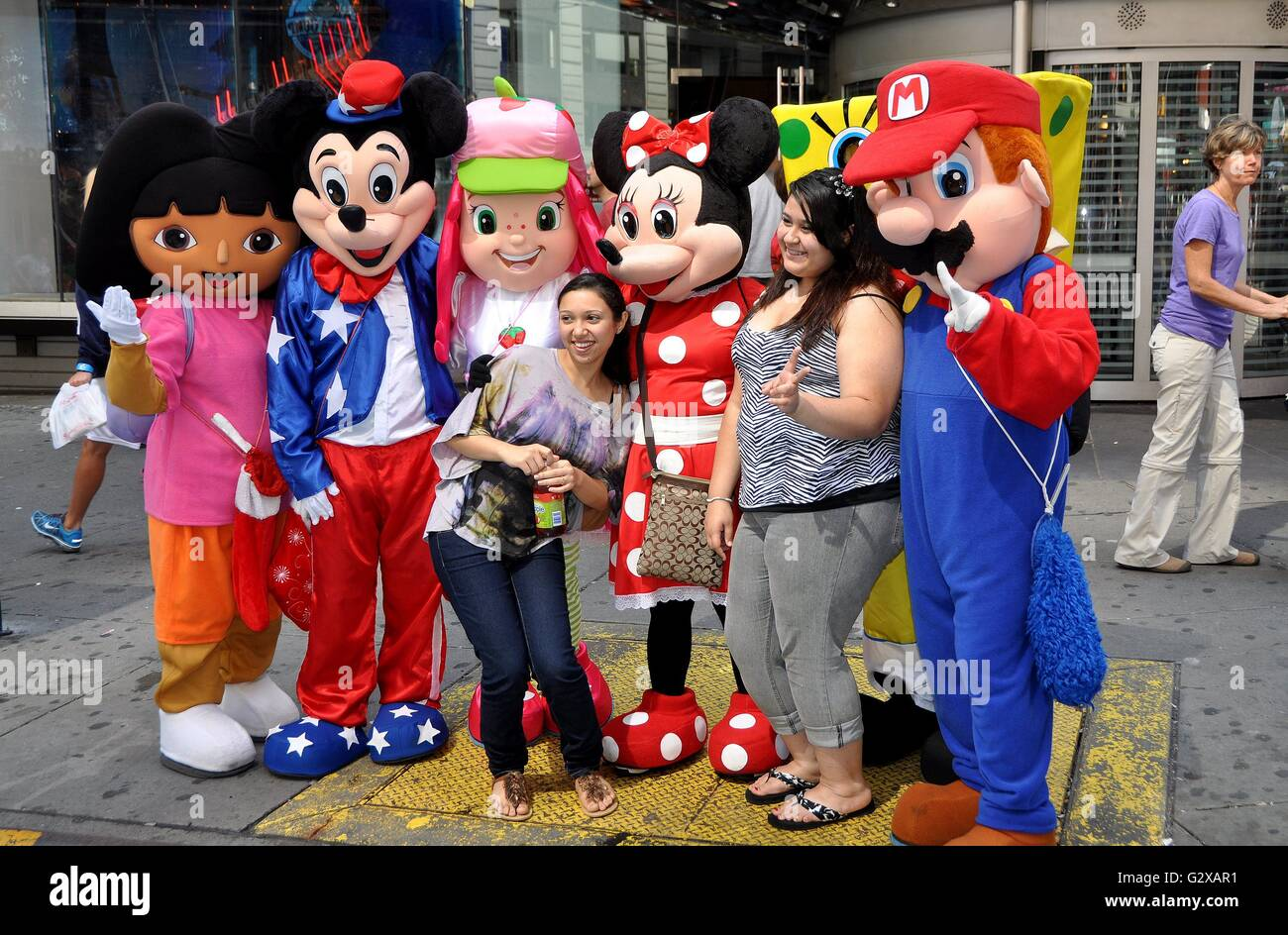 New York City Tourists With Disneys Mickey And Minnie Mouse Other Characters From Animated
