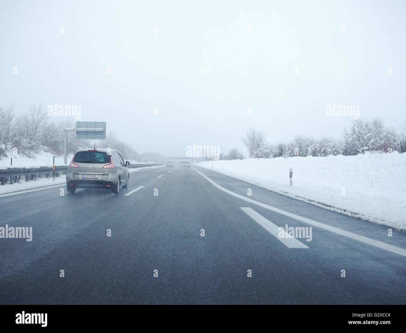 German Autobahn A5 at sleet - Stock Image