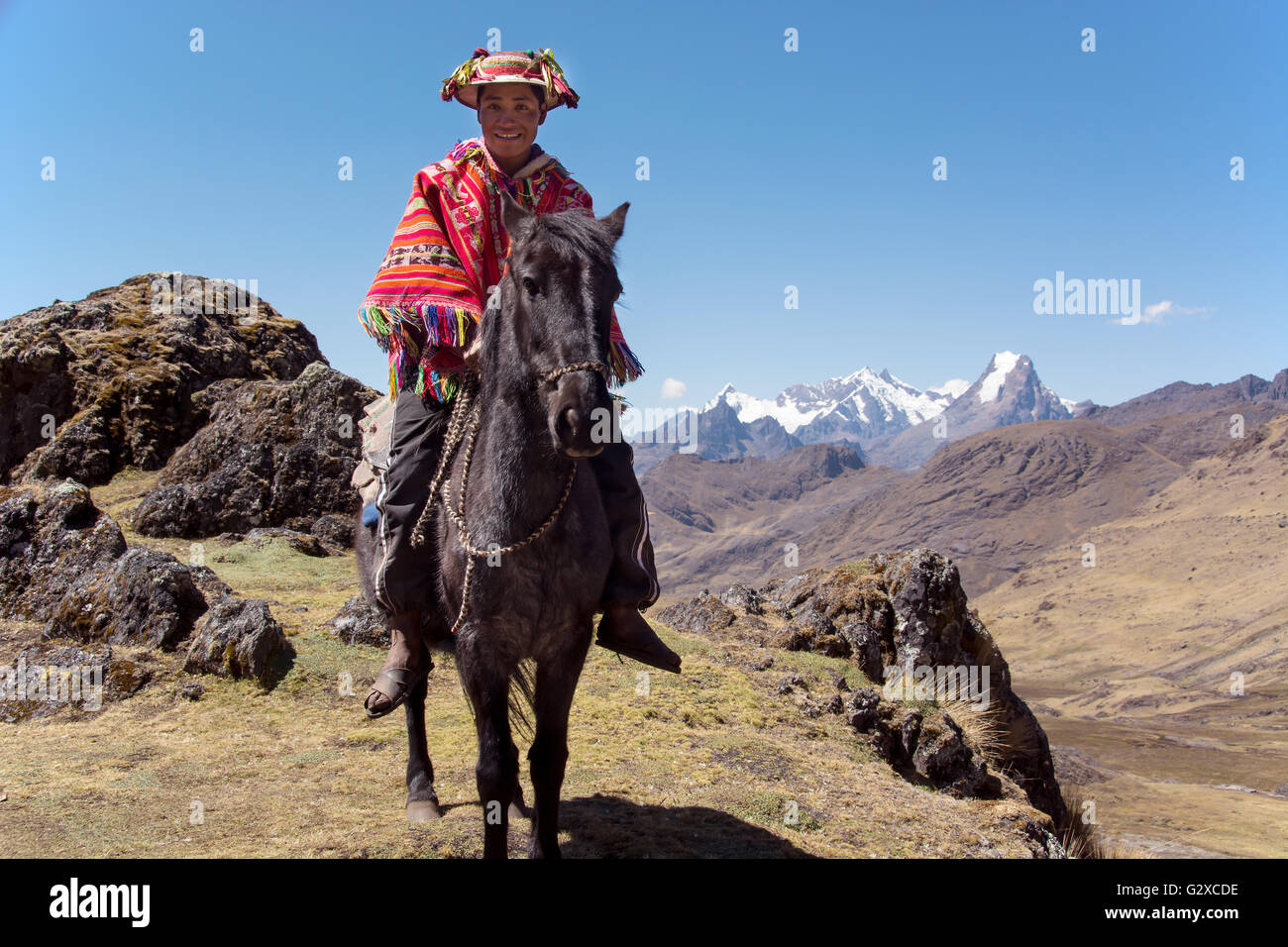 Indio mountain guide with colorful poncho riding on horse in the mountains, Andes, Lares, near Cusco, Peru - Stock Image