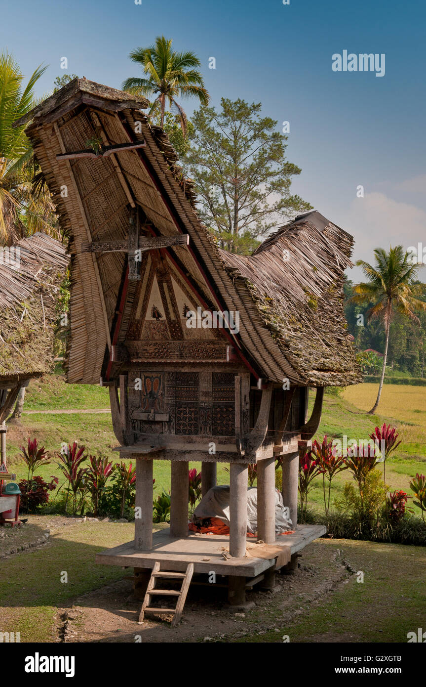 Sulawesi, Kete Kesu Village, traditional stilt house - Stock Image