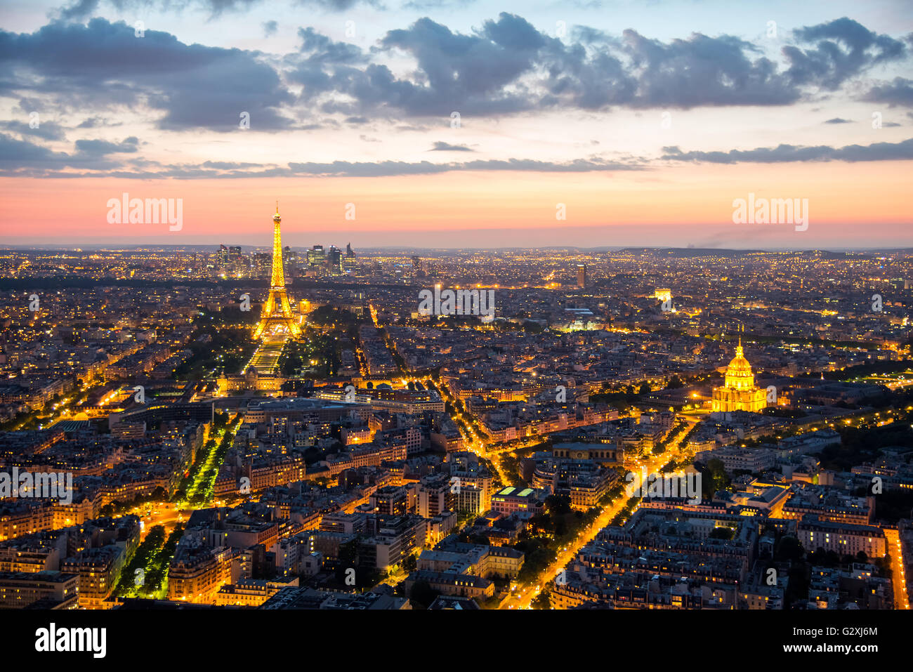 View over Paris with the Tour Eiffel after sunset Stock Photo