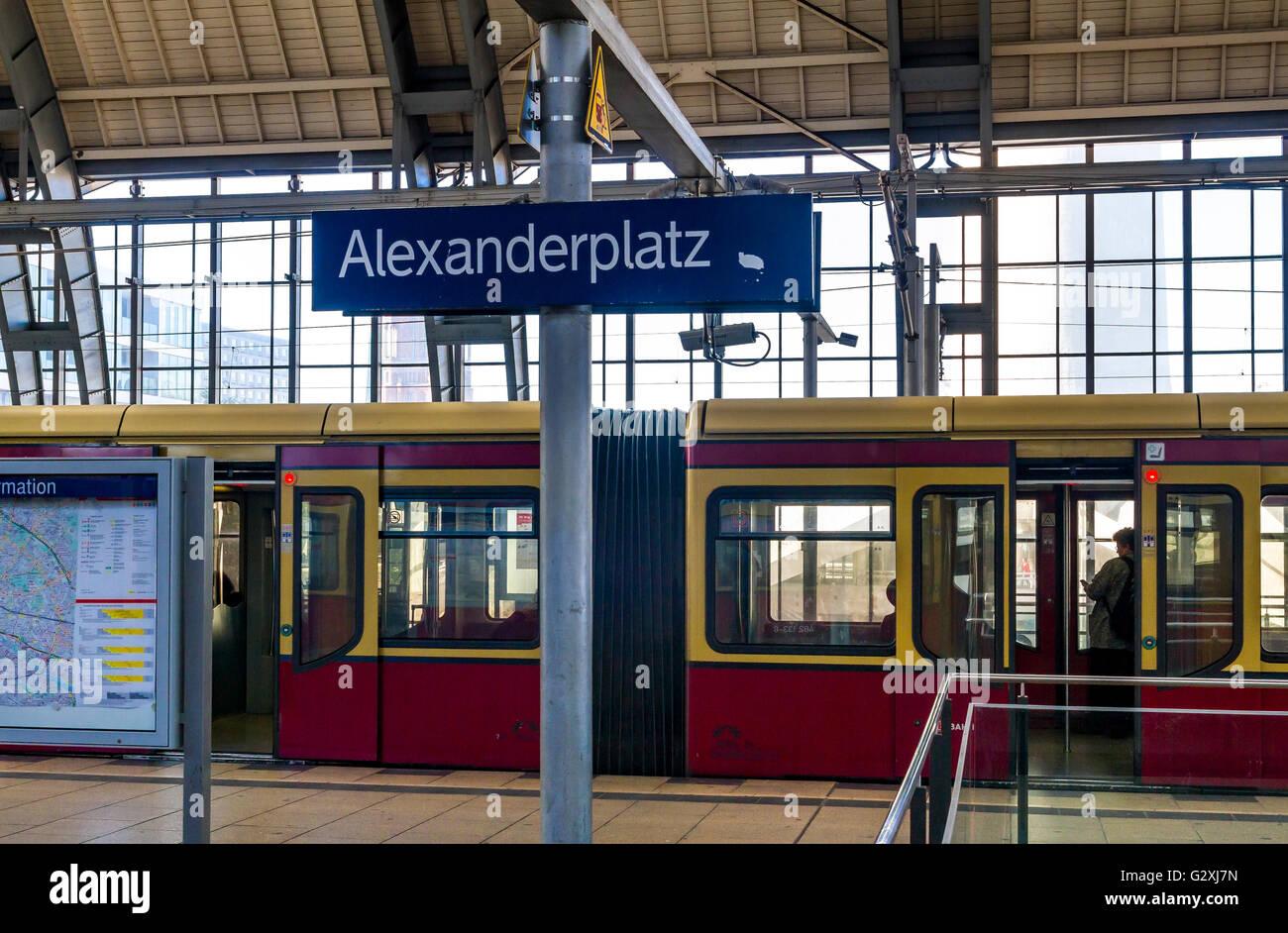 S Bahn train at Alexanderplatz Hauptbahnhof , Berlin ,Germany Stock Photo