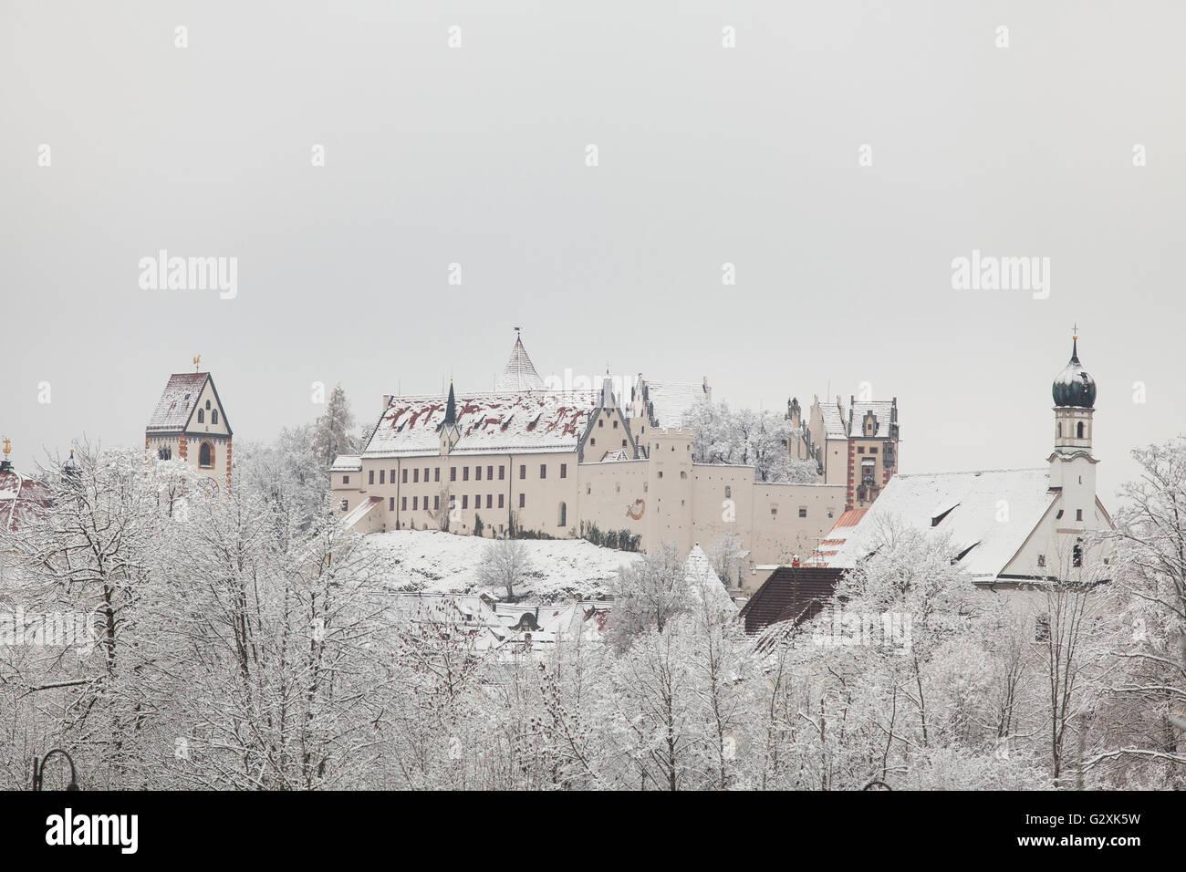 Fussen Castle in winter landscape - Stock Image