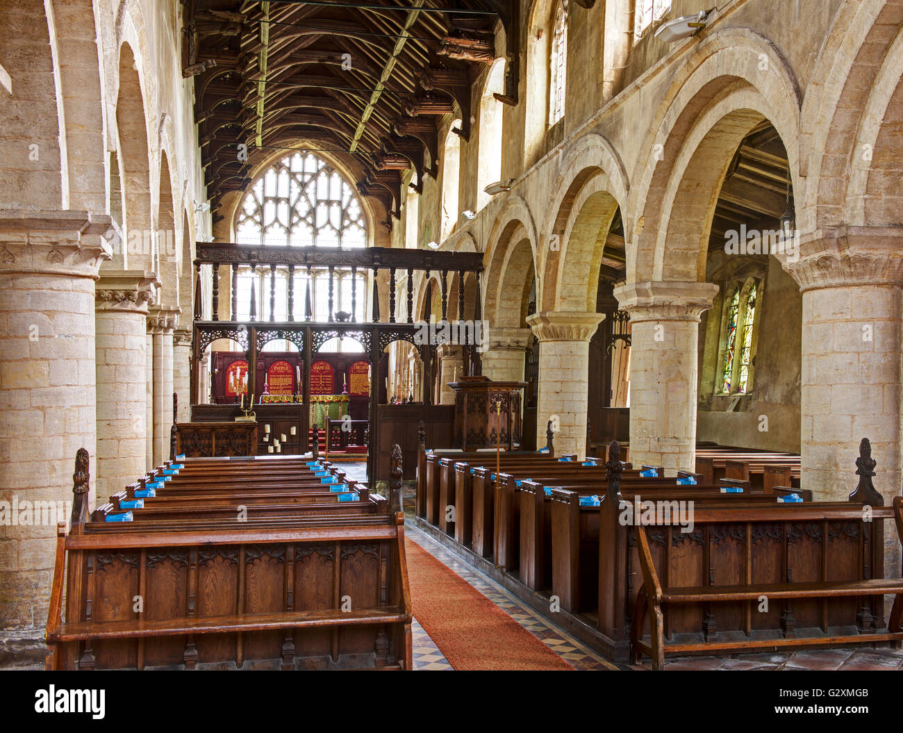 Interior of All Saints Church, Tilney All Saints, Norfolk, England UK - Stock Image